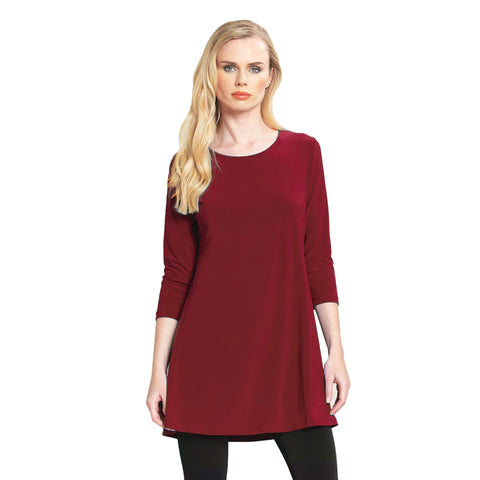 Clara Sunwoo Solid Square Cut Out Back Tunic in Merlot - TU827-MER