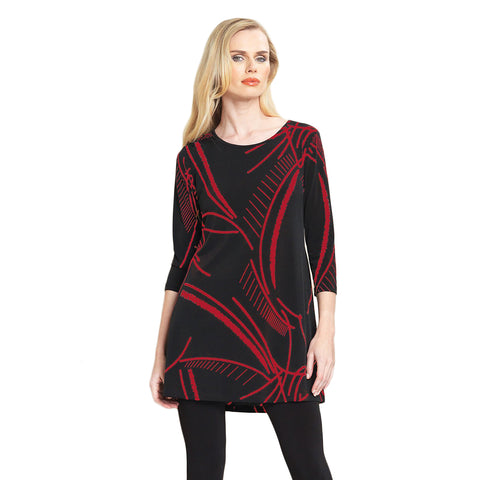 Clara Sunwoo Back Cut-Out Tunic in Red/Black - TU827P-RB - Sizes S & M
