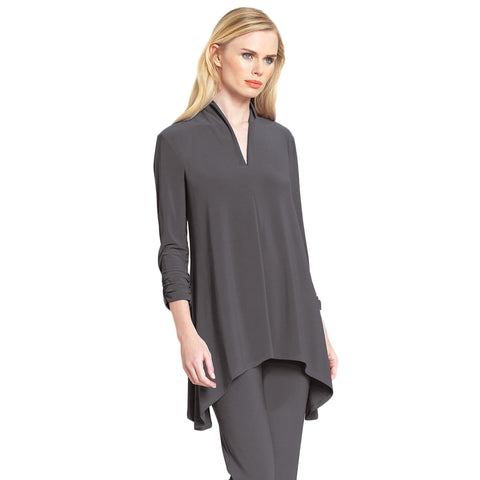 Clara Sunwoo Narrow V-Neck Tunic in Charcoal - TU85-CHR