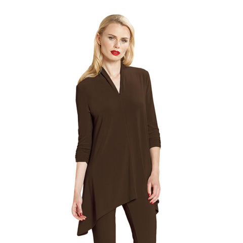 Clara Sunwoo Narrow V-Neck Tunic in Brown - TU85-BRN - Sizes XS & S Only