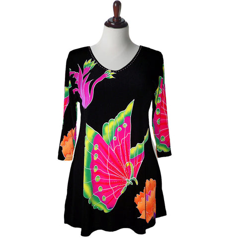 "Valentina Signa Tunic ""Butterfly Fan""  Red/Multi - 7161-8"