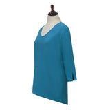 Valentina Signa  Solid V Neck Hi-Low Tunic Top in Turquoise - 15296- TRQ