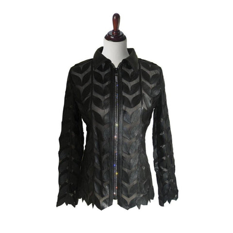 Unique Studio Leather Leaf Jacket with Rhinestone Zipper in Black  LS-BLK