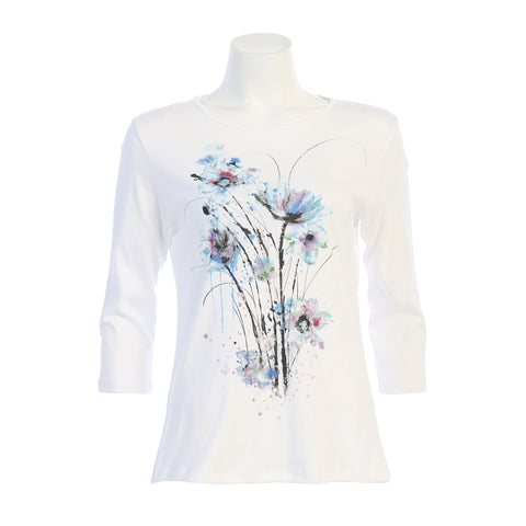 "Jess & Jane ""Felicity"" Floral Print Top in White/Blue - 14-1452WT"