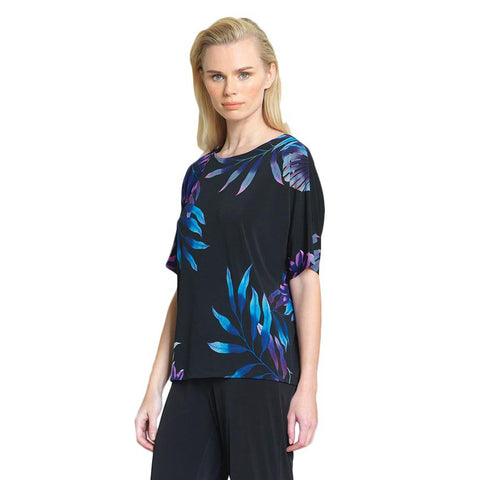 Clara Sunwoo Leaf Print Knit Top in Blue/Purple/Black - T20P7 - Sizes S & XL Only