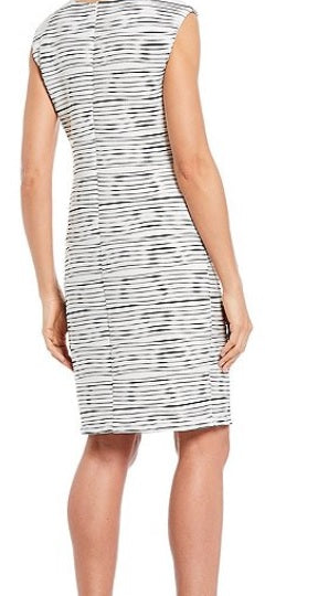 IC Collection Striped-Rib Sleeveless Shift Dress in Black/White 1534D-WHT - Sizes S, L & XL
