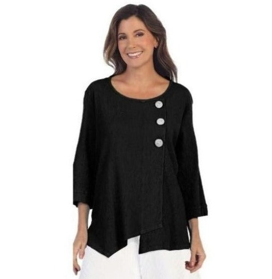 Focus Skinny Ribbed Cotton Tunic in Black - CG-102-BK
