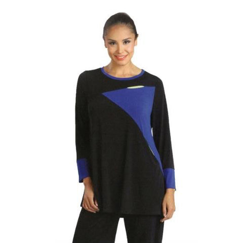 IC Collection Colorblock Tunic with Side Slip Pockets in Royal/Black - 1284T - Size S Only