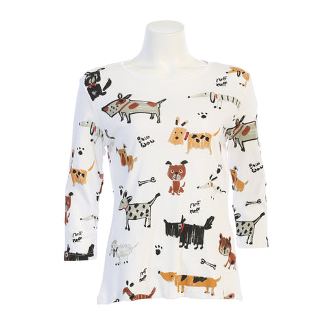 "Jess & Jane ""Critters"" Dog Lovers Print Cotton Top in White - 14-1442-WT"