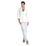 IC Collection Button-Front Jacquard Fitted Jacket in White on White - 3062J-WHT