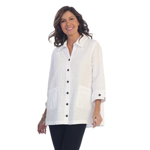 Focus Button Front Cotton Jacket in White WS-107