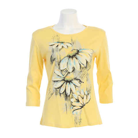 "Jess & Jane ""Lucy"" Daisy Print Top in Lemon - 14-1454-LM"