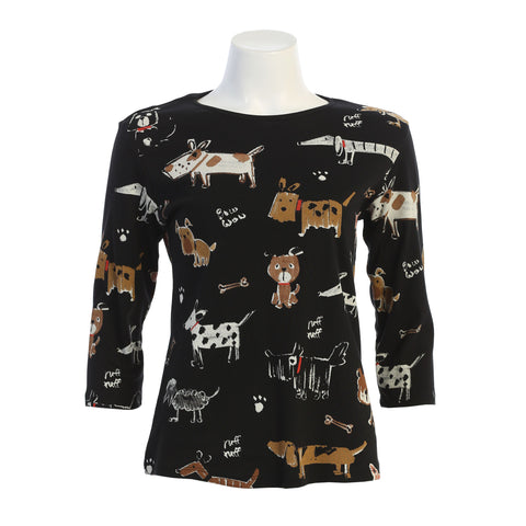 "Jess & Jane ""Critters"" Dog Lovers Print Cotton Top in Black - 14-1442-BK"