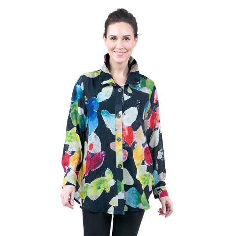 Damee Watercolor Gemstone Shirt in Multi/Black - 7052-BLK - Sizes L & XXL Only