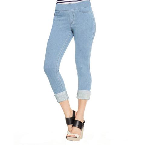 "Mesmerize ""Abel"" Pull-On Capri with Stud Embellishment in Light Denim Blue- ABEL-LTBLU"