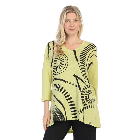 "Jess & Jane ""Travel"" Cotton Slub High-Low Tunic in Citrus/Black - CS5-1319"