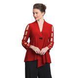 IC Collection Asymmetric Jacket with Cutout Sleeves in Red - 9175J-RED