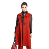 IC Collection Long One-Button Vest in Red - 3157V-RED - Sizes S & M Only
