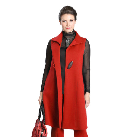 IC Collection Long One-Button Vest in Red - 3157V-RED - Sizes S, M & L