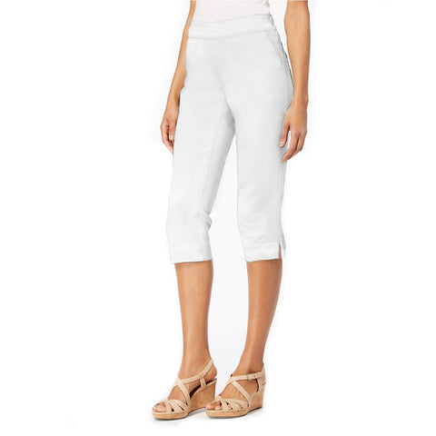 "Mesmerize ""Luke"" Pull-On Bermuda Shorts in Stretch Knit - White - BRM-WT"