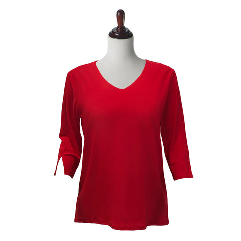 Valentina Signa  Solid V Neck Hi-Low Tunic Top in Red - 15296-RED