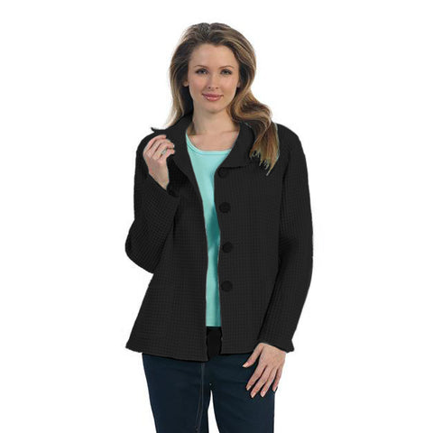 Focus Fashion Button Front Waffle Jacket in Black - C602-BLK - Sizes L & XL
