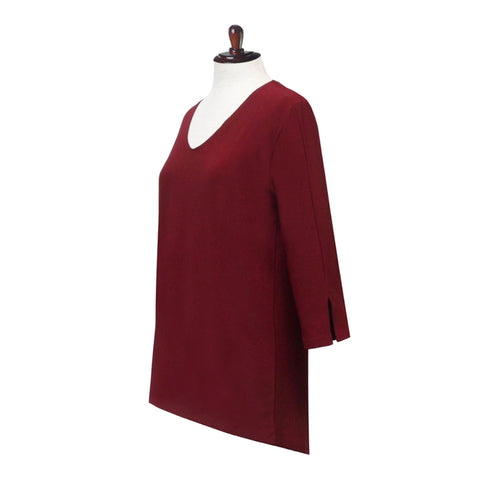 Valentina Signa  Solid V Neck Hi-Low Tunic Top in Burgundy - 15296-BRG