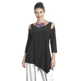 IC Collection Soft Knit Cold Shoulder Angle Tunic in Black - 6615T-BLK - Size S Only