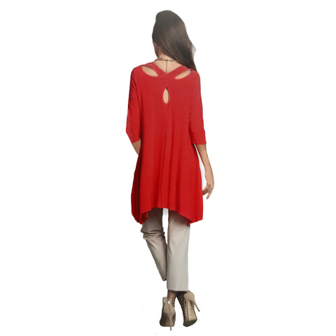 IC Collection Criss Cross Back Pocket Tunic in Red - 1575T-RED