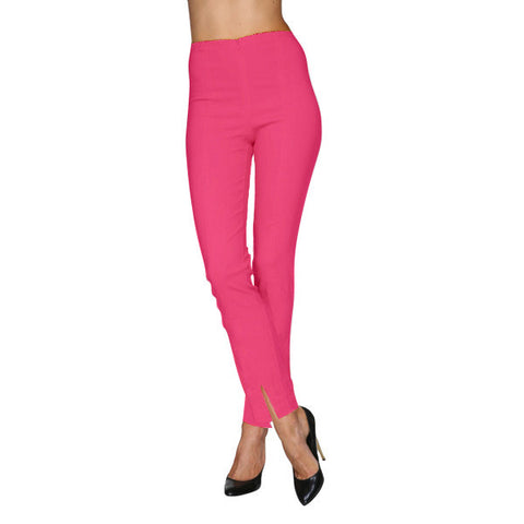 Mesmerize Pants with Front Ankle Slits and Front Zipper in Barbie - MA21-BRB