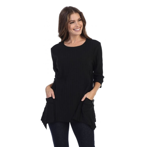 Focus Patch-Pocket Ribbed Tunic in Black - CS-330-BLK