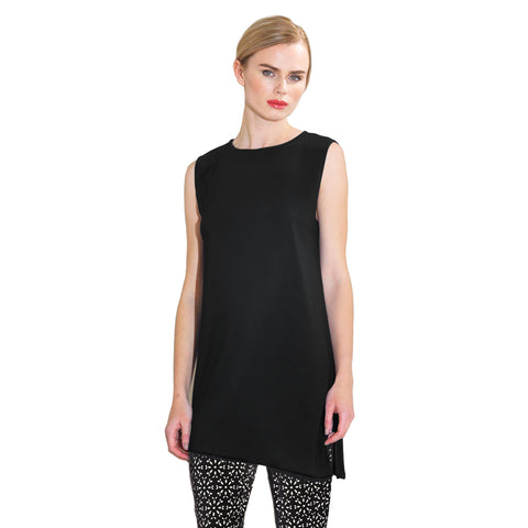 Clara Sunwoo High Round Neck Sleeveless Tunic/Tank in Black - TKU2-BLK - Sizes XS Only