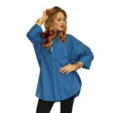 Dilemma Solid Cotton Oversize Shirt in Blue - GB-5026-BLU