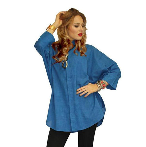 Dilemma Oversized Solid Big Shirt in Blue - GB-5026-BLU