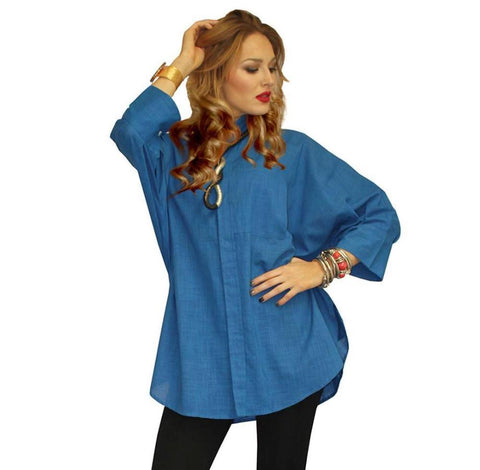Dilemma Oversize Shirt in Blue - GB-5026-BLU
