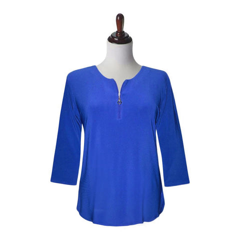 Valentina Signa Solid Zip Front Top in Blue - PH-Z-BLU = Sizes S & M Only