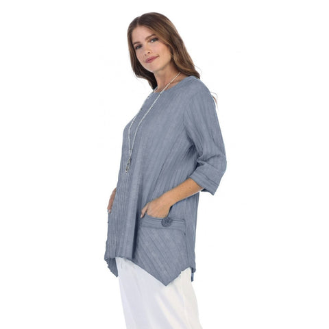 Focus Patch-Pocket Ribbed Tunic in BlueStone - CS-330-BLS