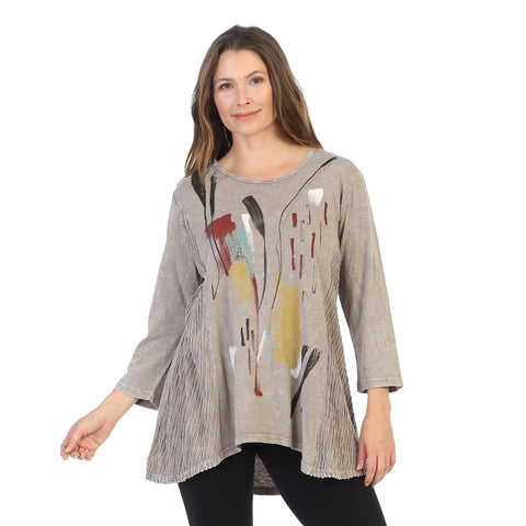 "Jess & Jane ""Color Sketch"" Abstract Print Mineral Washed Tunic in Taupe - M55-1386"