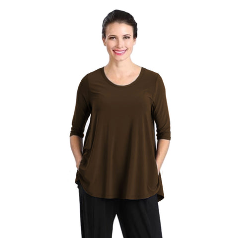 IC Collection Solid High-Low Top in Brown - 6899T-BRN