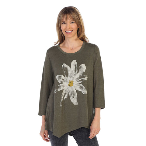 "Jess & Jane ""Daisy"" Print Asymmetric Tunic in Olive - BT2-1022"