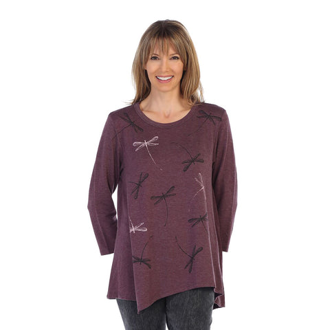 "Jess & Jane ""Philharmonic"" Dragonfly Print Asymmetric Tunic in Plum - BT2-1166"