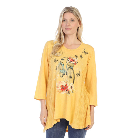 "Jess & Jane ""Maybe"" Bicycle, Flowers & Butterfly Print Tunic - M55-1312"