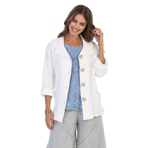 Focus Fashion Button Front Waffle Jacket in White ♥ C602-WHT