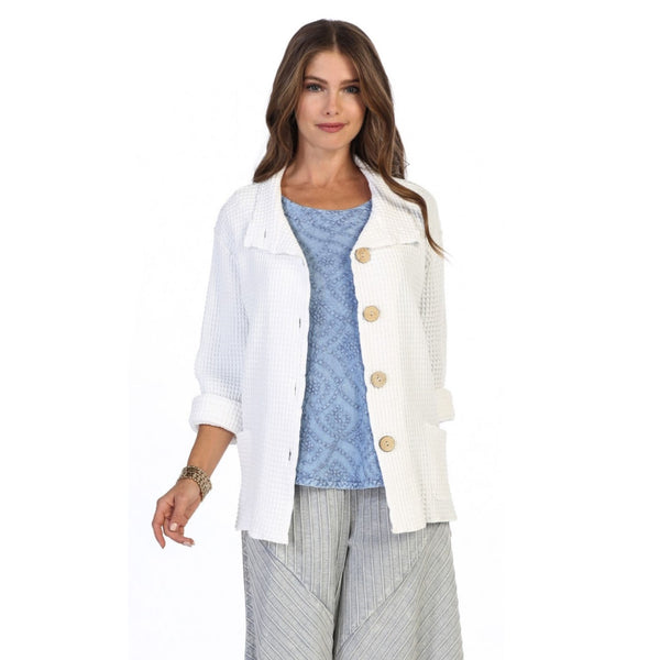 Focus Fashion Waffle-Pattern Cotton Jacket in White ♥ C602-WHT