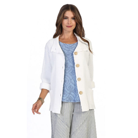Focus Fashion Signature Waffle Jacket in White ♥ C602-WHT