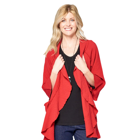 Focus Fashion Lightweight Open Front Cardigan in Brick Red - CD-204-BRK