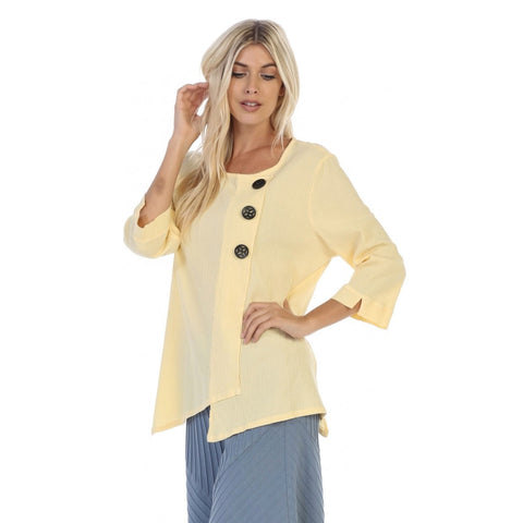 Focus Textured Point Hem Tunic in Yellow - CG-102-YW