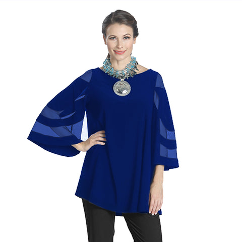IC Collection Mesh Sleeve Tunic in Cobalt - 1241T-COB - Size M Only