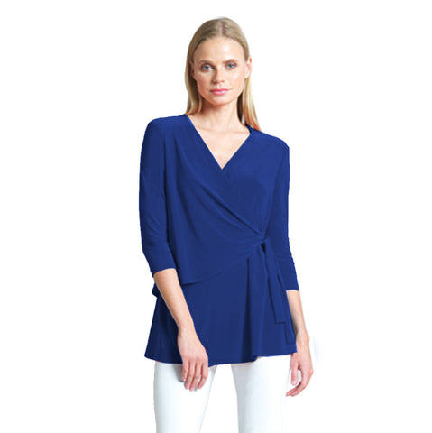 Clara Sunwoo V-Neck Side Wrap Tunic in Cobalt TU2-COB