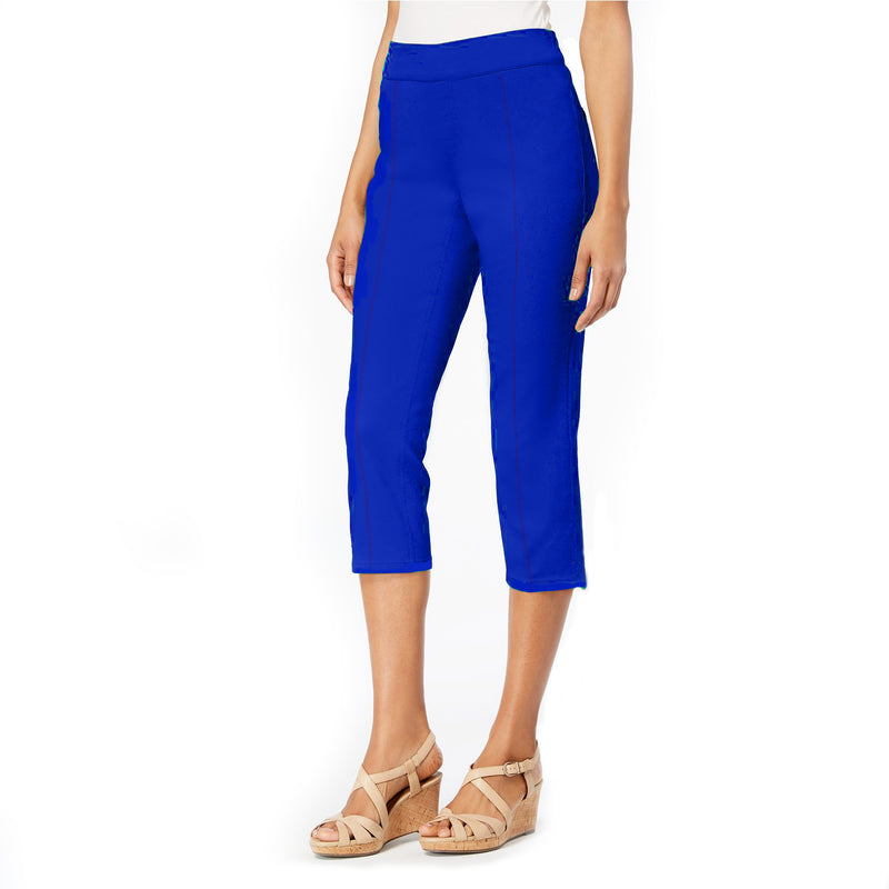 "Mesmerize ""Mason"" Pull-On Capri with Back Slits in Cobalt - MASON-CB - Sizes 6 & 8 Only"